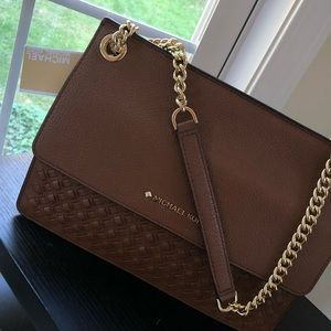 Michael Kors Katie brown leather medium satchel